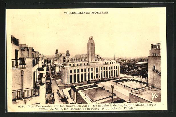 AK Villeurbanne, Vue d`ensemble sur nouvelle Cites, Rue Michel-Servet, l`Hotel de Ville, les Bassins de la Place