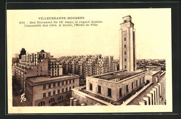 AK Villeurbanne, Des terrasse du 10 etage, le regard domine l`ensemble des cites, a droite, l`Hotel de Ville