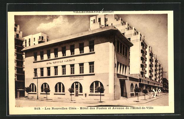 AK Villeurbanne, Les nouvelles cites, Hotel des Postes et Avenue d l`Hotel de Ville