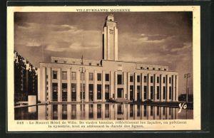 AK Villeurbanne, Le Nouvel Hotel de Ville, De vastes bassins, reflechissant les facades, en precisent la symmetrie