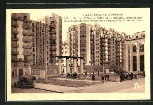 AK Villeurbanne, Entree l`Hotel de Ville et le Theatre, s`etend une belle place decoree de pleces d`eau