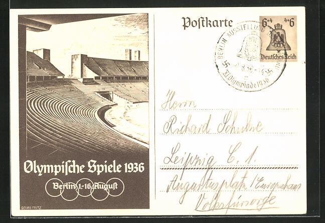 Künstler-AK Berlin, Olympische Spiele, 1936, Stadion, Ganzsache 6+4 Pfg.