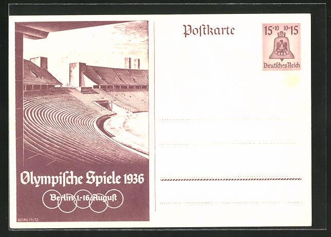 Künstler-AK Berlin, Olympische Spiele, 1936, Tribünen im Stadion, Ganzsache 15+10 Pfg.