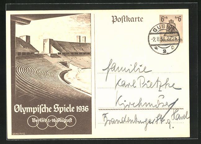 Künstler-AK Berlin, Olympische Spiele, 1936, Tribünen im Stadion, Ganzsache 6+4 Pfg.