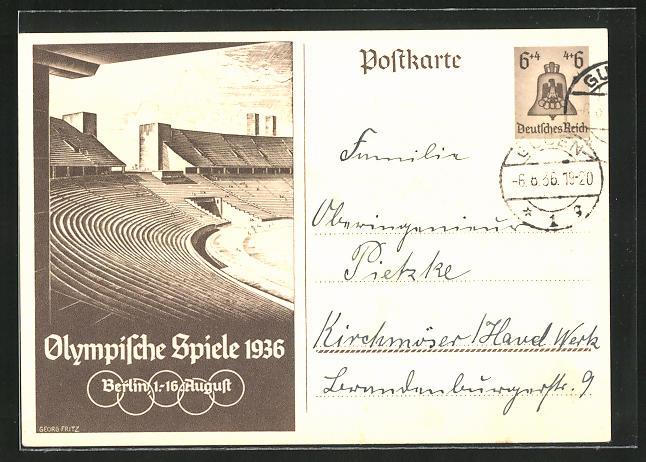 Künstler-AK Berlin, Olympische Spiele, 1936, Tribünen im Olympia-Stadion, Ganzsache 6+4 Pfg.
