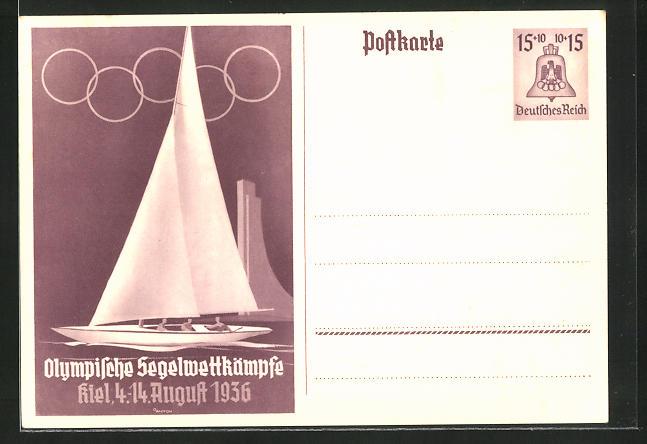 Künstler-AK Kiel, Olympische Segelwettkämpfe, Segelboot am Marine-Ehrenmal, Ganzsache 15+10 Pfg.