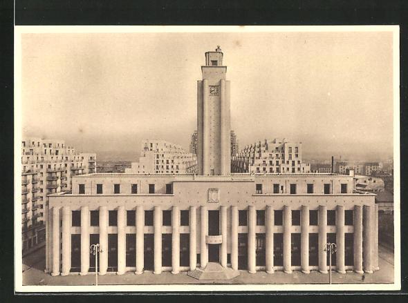 AK Villeurbanne, Nouveau Centre d`Urbanisme, L`Hotel de Ville, Bauhaus