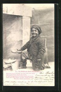 AK Le Noel du Petit Ramoneur, Kleiner Schornsteinfeger mit Holzschuhen