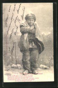 AK Le Noel du Petit Ramoneur, Kleiner Schornsteinfeger friert im Schnee