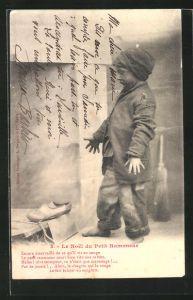 AK Le Noel du Petit Ramoneur, Kleiner Schornsteinfeger mit neuen Schuhen