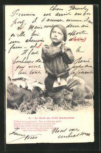 AK Le Noel du Petit Ramoneur, Kleiner Schornsteinfeger beim innigen Gebet