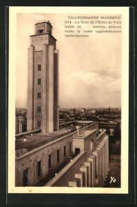 AK Villeurbanne, La Tour de l`Hotel de Ville, Bauhaus-Stil