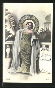 AK Allegorien für die Monate eines Jahres, März, Frau mit Maske, Jugendstil