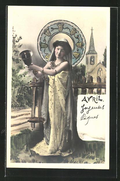 AK Allegorien für die Monate eines Jahres, April, Frau mit Glocke, Jugendstil