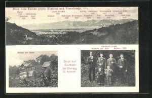 AK Sulzbach, Geschwistergruppe mit Liliputaner, Blick vom Falken gegen Rheintal u. Vorarlberge, Gasthaus zum Falken