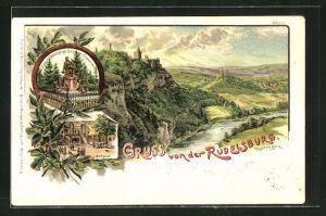 Künstler-AK Bruno Bürger & Ottillie Nr. 2151: Rudelsburg, Blick auf Bismarck-Denkmal und Burghof
