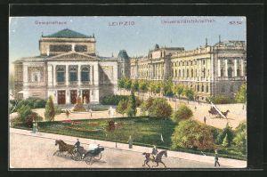 Künstler-AK Bruno Bürger & Ottillie Nr. 8352: Leipzig, Blick auf Gewandhaus und Universitätsbibliothek