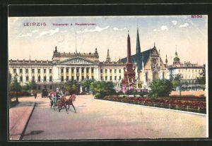 Künstler-AK Bruno Bürger & Ottillie Nr. 8350: Leipzig, Blick auf Universität und Mendebrunnen