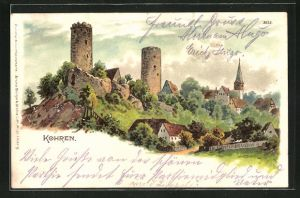 Künstler-AK Bruno Bürger & Ottillie Nr. 2032: Kohren, Ortsansicht mit Burgruine