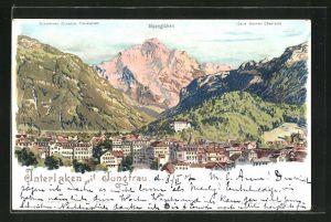 Künstler-AK C. Steinmann: Interlaken, Ortsansicht mit Jungfrau u. Alpenglühen