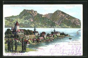 Künstler-AK C. Steinmann: Spiez am Thunersee / Berner Oberland, Ortsansicht