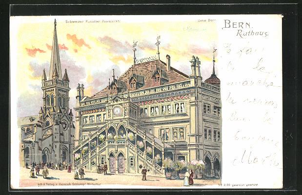 Künstler-AK Charles Homualk: Bern, Rathaus mit Passanten