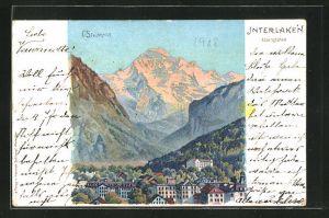 Künstler-AK C. Steinmann: Interlaken, Ortsansicht u. Alpenglühen