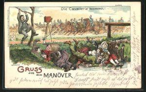 Künstler-Lithographie Bruno Bürger & Ottillie Nr. 6225: Gruss aus dem Manöver, Die Cavallerie Kommt, Scherz, Fotograf