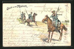 Künstler-Lithographie Bruno Bürger & Ottillie Nr. 1014: Gruss aus dem Manöver, Husaren