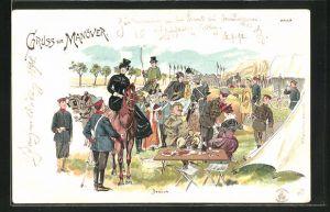 Künstler-Lithographie Bruno Bürger & Ottillie Nr. 1239: Gruss vom Manöver, Besuch, Reiterin