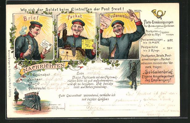 Künstler-Lithographie Bruno Bürger & Ottillie Nr. 254: Wie sich der Soldat beim Eintreffen der Post freut!