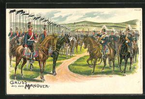 Künstler-AK Bruno Bürger & Ottillie Nr. 7312: Gruss aus dem Manöver, Kaiser Wilhelm II. und Ulanen