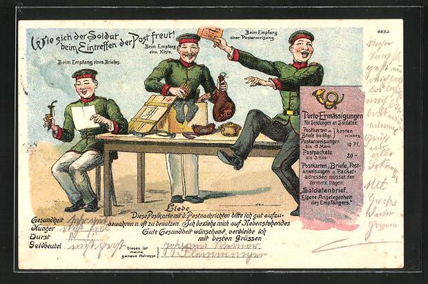 Künstler-Lithographie Bruno Bürger & Ottillie Nr. 6899: Wie sich der Soldat beim Eintreffen der Post freut!, Reserve