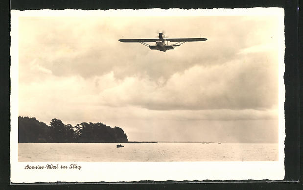 AK Dornier-Wal im Flug, Wasserflugzeug über dem Bodensee