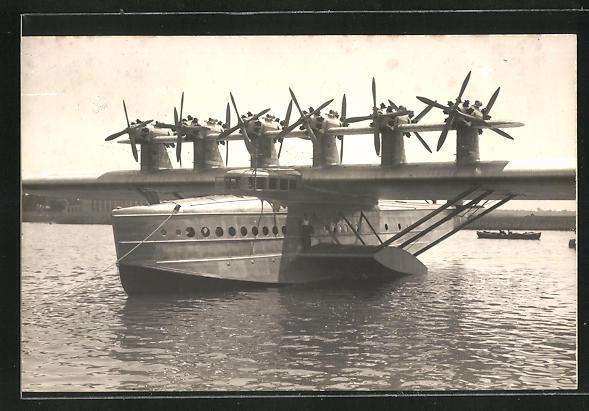 Foto-AK Dornier Do X, Bugansicht des Wasserflugzeuges