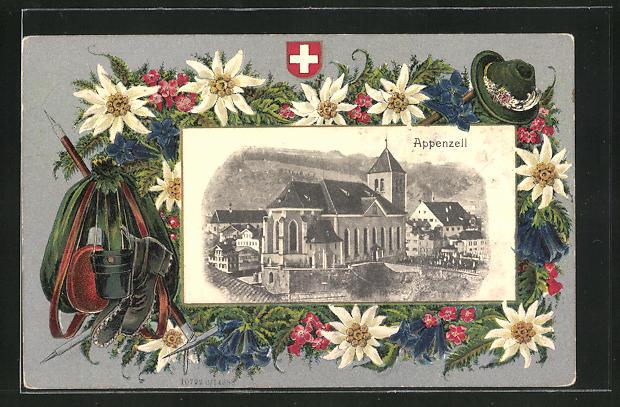 Passepartout-Lithographie Appenzell, Ortspartie und Alpenblumen mit Schweizer Wappen
