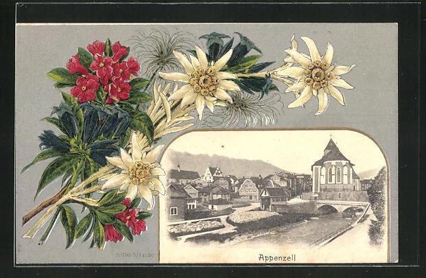 Passepartout-Lithographie Appenzell, Ortspartie und Alpenblumen