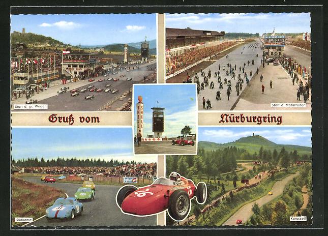 AK Nürburgring, Autorennen, Start der gr. Wagen, Südkehre, Karussell