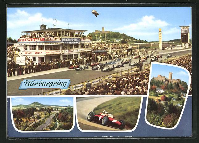 AK Nürburgring, Autorennen, Rennauto, Burg, Rennstrecke
