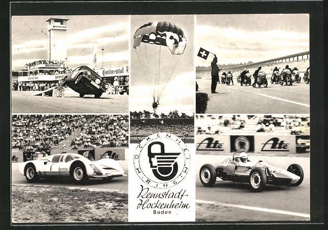 AK Hockenheim / Baden, Autorennen, Rennwagen, Start der Motorräder