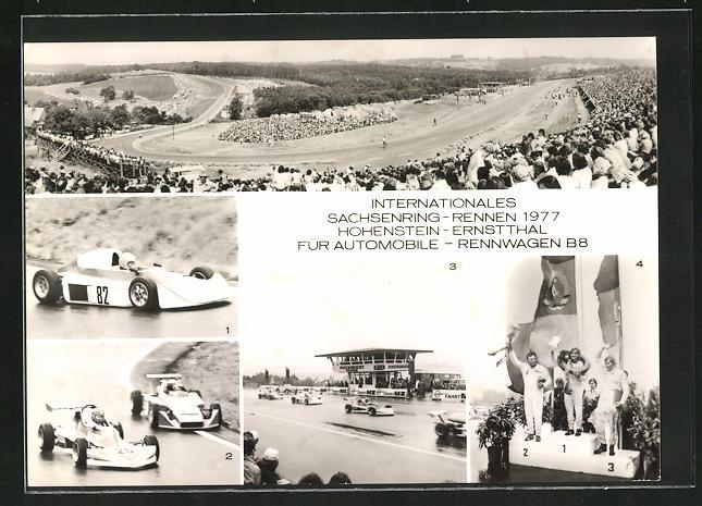 AK Hohenstein-Ernstthal, Internationales Sachsenring-Rennen 1977, Rennwagen, Rennstrecke, Siegerehrung
