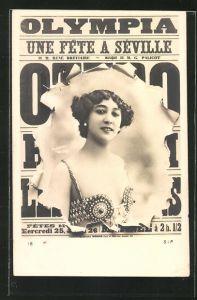 Foto-AK Atelier Reutlinger, Paris: Frau blickt durch das aufgerissene Plakat, Reklame für die Music Hall Olympia