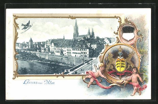 Passepartout-Lithographie Ulm, Ortsansicht u. Engel mit Wappen