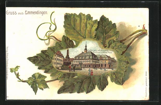 Passepartout-Lithographie Emmendingen, Marktplatz mit Kriegerdenkmal, Rathaus u. Hotel Post im Blatt