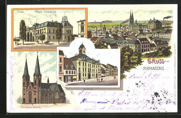 Lithographie Pirmasens, Ortsansicht, Post-Gebäude, Rathhaus