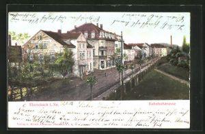 Relief-AK Ebersbach i. Sa., Bahnhofstrasse m. Bernh. Clemens Geschäftsbücher-Fabrik
