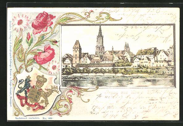 Passepartout-Lithographie Ulm a. D., Ortsansicht u. Blumen mit Wappen
