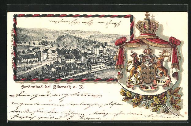 Passepartout-Lithographie Biberach, Jordanbad u. Löwe u. Hirsch mit Wappen