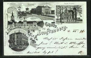 Lithographie Senftenberg, Bahnhof, Kaiserl. Postamt, Markt Ostseite