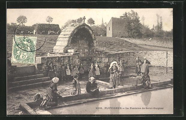 AK Pluvignier, La Fontaine de Saint-Guigner, Waschfrau